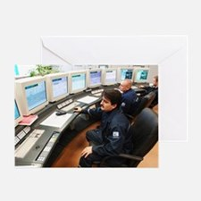 Petrochemical factory control room Greeting Card