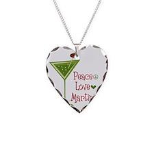 Peace Love Martini Necklace