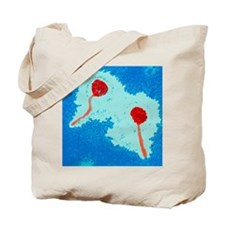 Coloured TEM of two lambda bacteriophages Tote Bag