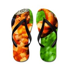 Composite image of steroids on a male b Flip Flops