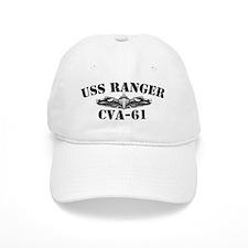 uss ranger cva black letters Baseball Cap