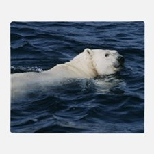 Polar bear swimming Throw Blanket