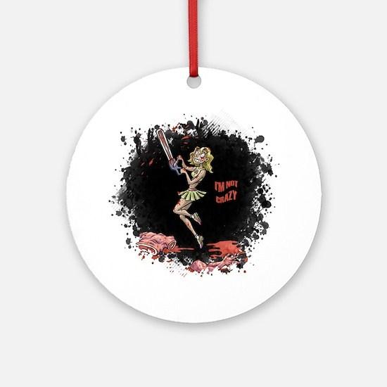 Crazy Chainsaw Girl Round Ornament