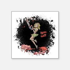 "Crazy Chainsaw Girl Square Sticker 3"" x 3"""
