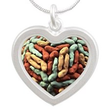 Dengue virus particle Silver Heart Necklace