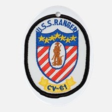 uss ranger cv patch transparent Oval Ornament