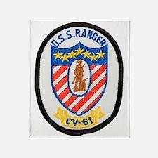uss ranger cv patch transparent Throw Blanket