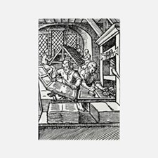 Printing press, 16th century Rectangle Magnet