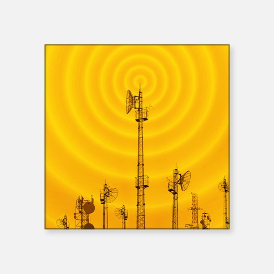 "Radio masts with radio wave Square Sticker 3"" x 3"""