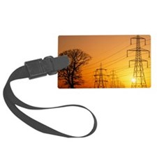 Pylons and power lines at sunset Luggage Tag