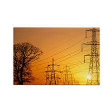 Pylons and power lines at sunset Rectangle Magnet