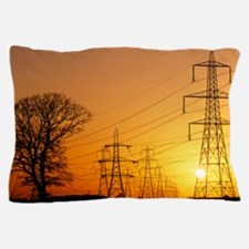 Pylons and power lines at sunset Pillow Case