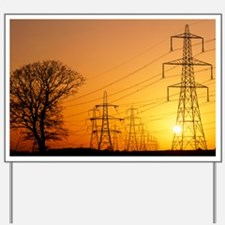 Pylons and power lines at sunset Yard Sign