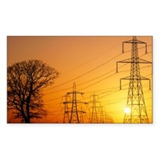Pylons and power lines at suns Decal
