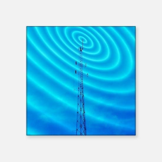 "Radio mast with radio waves Square Sticker 3"" x 3"""