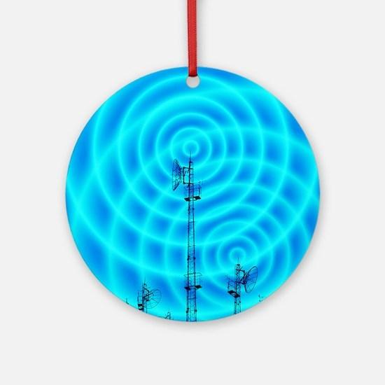 Radio masts with radio waves Round Ornament