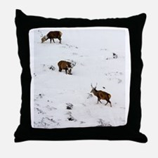 Red deer stags Throw Pillow