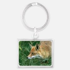 Red fox hunting Landscape Keychain