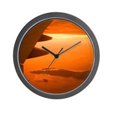 Airplane wing, aerial view Wall Clock