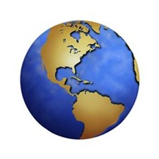 """Globe in space centered on west Indies 3.5"""" Button"""
