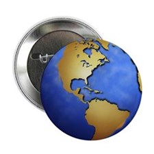 """Globe in space centered on west Indie 2.25"""" Button"""