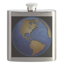 Globe in space centered on west Indies Flask