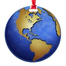 Globe in space centered on west Ind Ornament