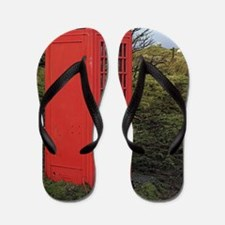 Red telephone box Flip Flops