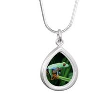 Red-eyed tree frog Silver Teardrop Necklace