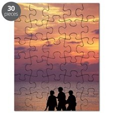 Soldiers patrolling beach at sunset Puzzle
