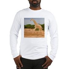 Giraffe running, side view (bl Long Sleeve T-Shirt