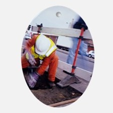 Repairing gas pipeline Oval Ornament