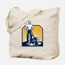 Gardener Mowing Lawn Mower Retro Tote Bag