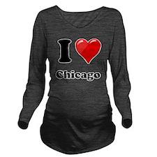I Heart Love Chicago Long Sleeve Maternity T-Shirt