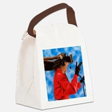 Researcher wearing Virtual Realit Canvas Lunch Bag