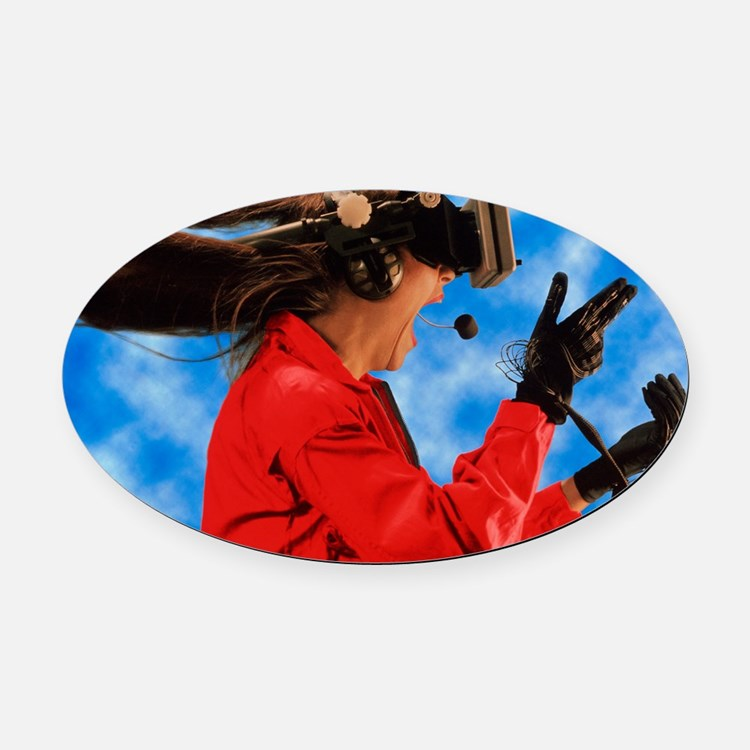 Researcher wearing Virtual Reality Oval Car Magnet