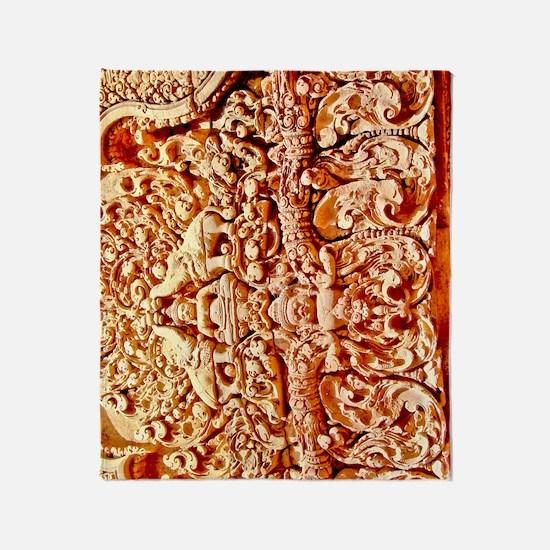 Angkor Wat Stonework Throw Blanket