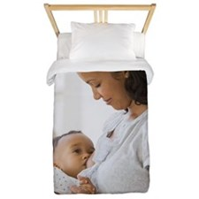 African American mother breastfeeding b Twin Duvet