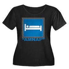 AMNAP Women's Plus Size Dark Scoop Neck T-Shirt