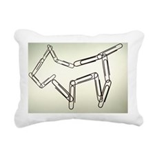 Paper clips in dog shape Rectangular Canvas Pillow