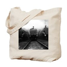 Three steam locomotives in the sidings. Tote Bag