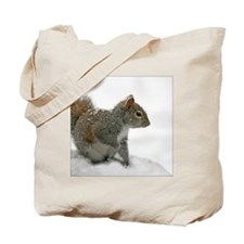 squirrel covered in snowflakes Tote Bag