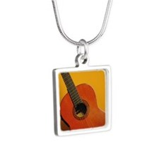 An acoustic guitar Silver Square Necklace