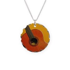 An acoustic guitar Necklace Circle Charm
