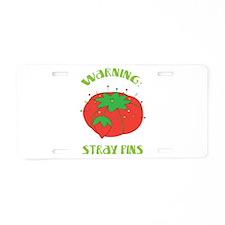 Warning: Stray Pins Aluminum License Plate