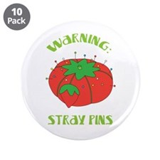 """Warning: Stray Pins 3.5"""" Button (10 pack)"""