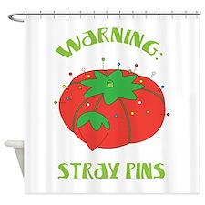 Warning: Stray Pins Shower Curtain