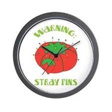 Warning: Stray Pins Wall Clock