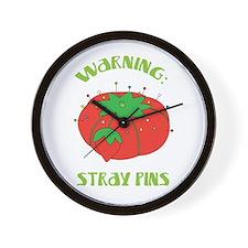 Warning: Stray Pins Wall Clock