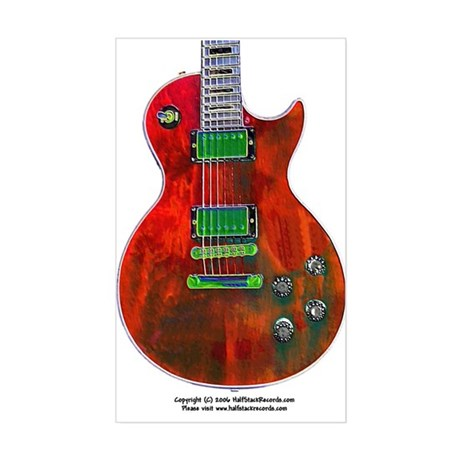 """Foil Red"" Guitar Rectangle Sticker"